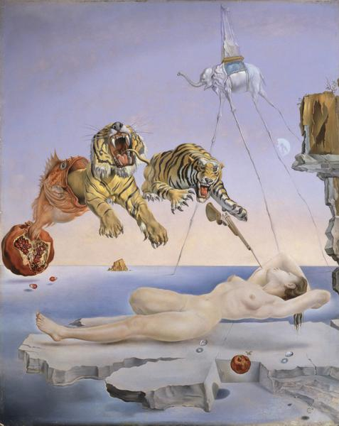 © Salvador Dalí, Fundación Gala-Salvador Dalí, Droom, veroorzaakt door de vlucht van een bij rond een granaatappel, een seconde voor het ontwaken, 1944, c/o Pictoright Amsterdam 2018